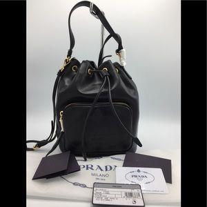 PRADA Glace Calfskin Emboss Secchiello Bucket Bag